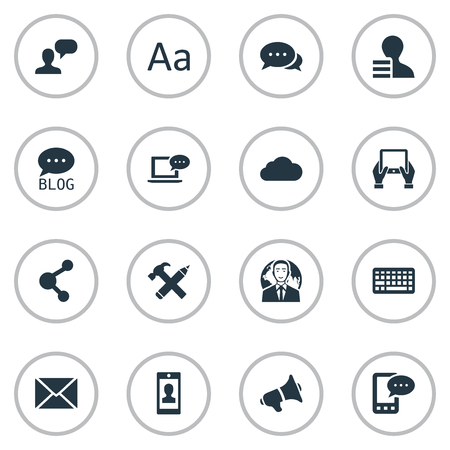 Vector Illustration Set Of Simple Blogging Icons. Elements Cedilla, Man Considering, Keypad And Other Synonyms Network, Relation And Sky.