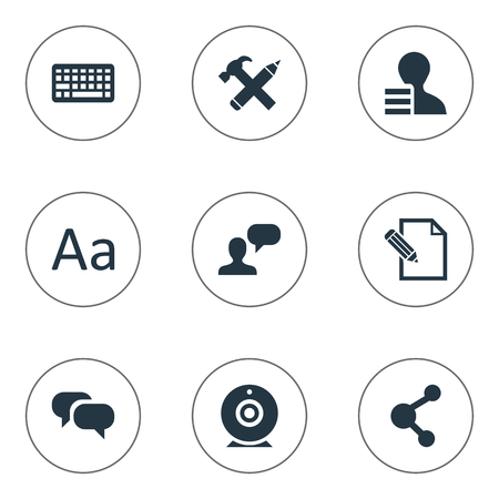 Vector Illustration Set Of Simple Newspaper Icons. Elements Man Considering, Keypad. Illustration