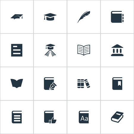 Vector Illustration Set Of Simple Education Icons. Elements Bookshelf, Academic Cap and more.