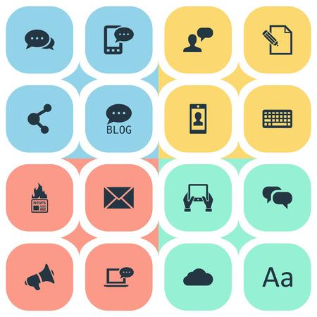 Vector Illustration Set Of Simple Blogging Icons. Elements Post, Gazette, Loudspeaker And Others.
