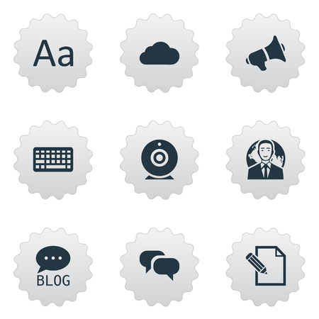 Vector Illustration Set Of Simple User Icons. Elements Gossip, Cedilla, Overcast And Other Synonyms Web, Forum And Keyboard. Illustration