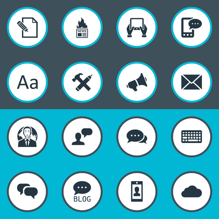 missive: Vector Illustration Set Of Simple User Icons. Elements Post, Repair, International Businessman And Other Synonyms Argument.