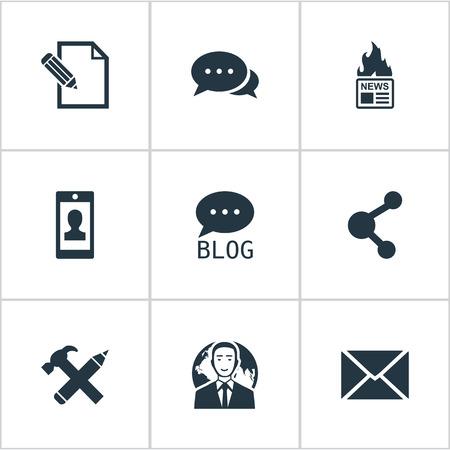 Vectorillustratiereeks Eenvoudige Gebruikerspictogrammen. Elements Gazette, profiel, site en andere synoniemenblog, argument en pen. Stockfoto - 77522848