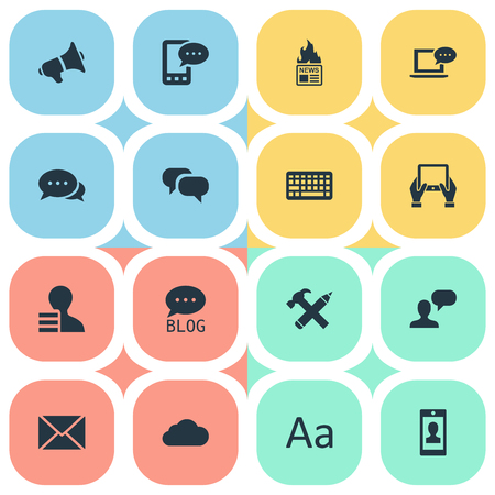 Vector Illustration Set Of Simple Newspaper Icons. Elements Site, Notepad, Man Considering And Other Synonyms Negotiation, Hot And Gazette. Çizim