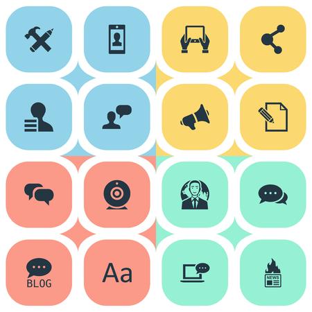 Vectorillustratiereeks Eenvoudige Krantenpictogrammen. Elementen Gossip, Man gezien, Notepad en andere synoniemen International, Forum en Smartphone.
