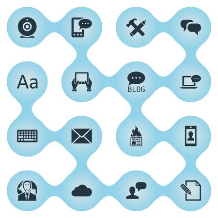 Vectorillustratiereeks Eenvoudige Gebruikerspictogrammen. Elements Broadcast, Site, Gazette en andere synoniemen E-Letter, Typography and Epistle.
