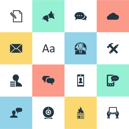 Vector Illustration Set Of Simple Blogging Icons. Elements Post, Notepad, Man Considering And Other Synonyms Hot, Tablet And Smartphone.