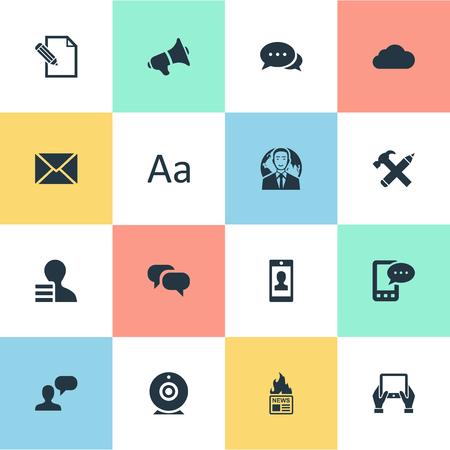 Vector illustratie Set van eenvoudige bloggen pictogrammen. Elements Post, Notepad, Man Overweegt En Andere Synoniemen Heet, Tablet En Smartphone.