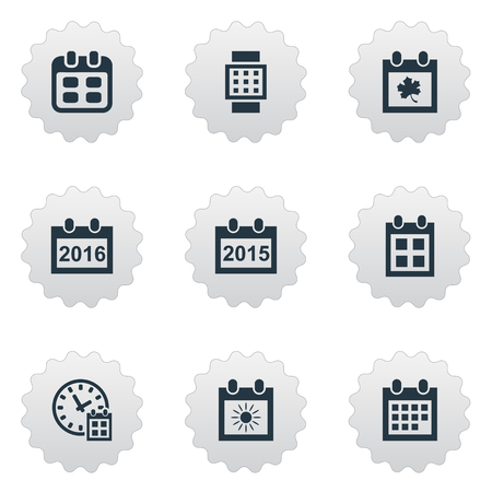 Vector Illustration Set Of Simple Plan Icons. Elements Date Block, Deadline, Event And Other Synonyms Summer, Hour And Date. Illustration