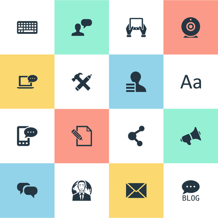 Vector Illustration Set Of Simple Newspaper Icons. Elements Man Considering, Gossip, Gain And Other Synonyms Forum, Post And Gossip. Çizim