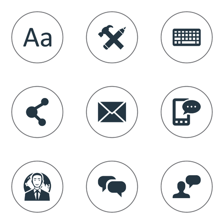 Vector Illustration Set Of Simple User Icons. Elements Man Considering, E-Letter, Keypad And Other Synonyms Share, E-Letter And Globe.