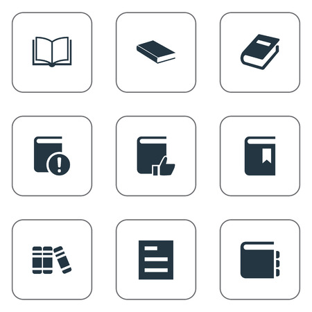 open magazine: Illustration Set Of Simple Knowledge Icons. Elements Journal, Bookshelf, Blank Notebook And Other Synonyms Notepad, Library And Bookmark.