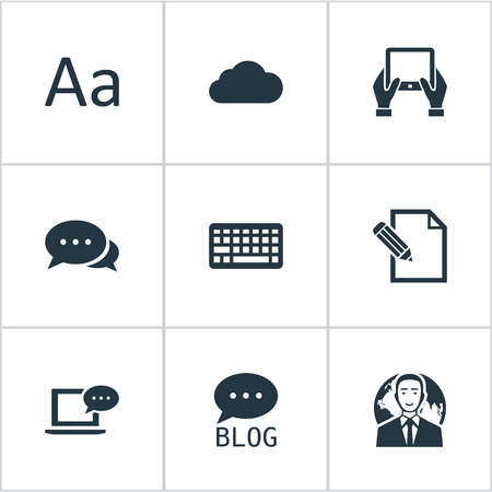 Vector Illustration Set Of Simple Blogging Icons. Elements International Businessman, Document, Laptop And Other Synonyms Globe, Coming And Message. Illustration