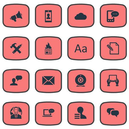 Vectorillustratiereeks Eenvoudige Gebruikerspictogrammen. Elements Document, Gossip, Laptop en andere synoniemen Post, Speech and Hammer. Stockfoto - 77522274