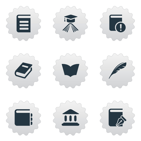 Vector Illustration Set Of Simple Knowledge Icons. Elements Graduation Hat and more.