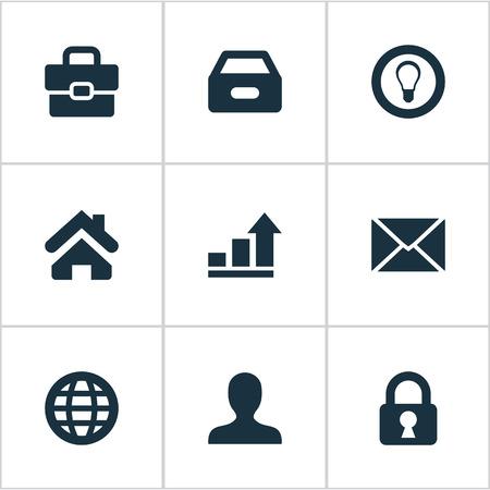 単純なビジネス アイコンのベクター イラスト セット。要素の南京錠、電球、書類と他の匿名のプロテクトは類義語、ポートフォリオ。 写真素材 - 77521958