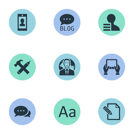 Vector Illustration Set Of Simple User Icons. Elements Argument, Gain, Site And Other Synonyms Site, Pencil And Hammer. Çizim