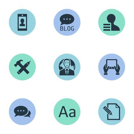 Vectorillustratiereeks Eenvoudige Gebruikerspictogrammen. Elementenargument, winst, site en andere synoniemensite, potlood en hamer. Stock Illustratie
