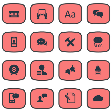 Illustration Set Of Simple Blogging Icons. Elements Repair, Argument, Broadcast And Other Synonyms Writing, Hammer And Negotiation.