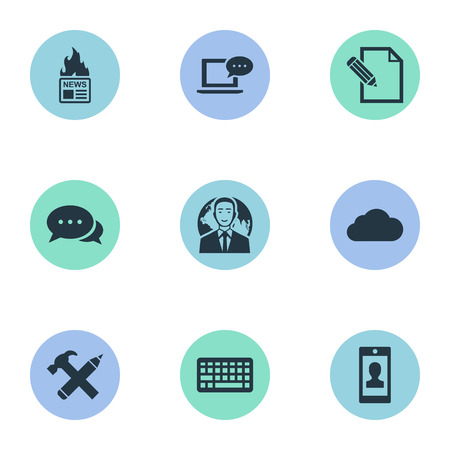 Illustration Set Of Simple Newspaper Icons. Elements Profile, Repair, Laptop And Other Synonyms Contract, Sky And Profile.