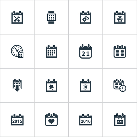 Illustration Set Of Simple Plan Icons. Elements Summer Calendar, Special Day, Heart And Other Synonyms Wheel, Smart And Block.