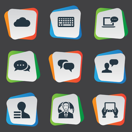 Vector Illustration Set Of Simple Blogging Icons. Elements Gain, Argument, Notepad And Other Synonyms Coming, Speech And Globe.