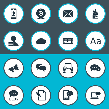 Vector Illustration Set Of Simple Newspaper Icons. Elements Gossip, Laptop, Notepad And Other Synonyms Epistle, Laptop And Camera.