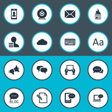 Vectorillustratiereeks Eenvoudige Krantenpictogrammen. Elementen Gossip, Laptop, Kladblok en andere synoniemenbrief, laptop en camera.