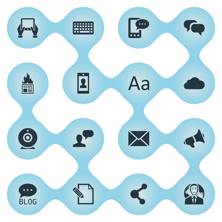 Vector Illustration Set Of Simple User Icons. Elements Profile, Keypad, Document And Other Synonyms Blog, Cedilla And Epistle.