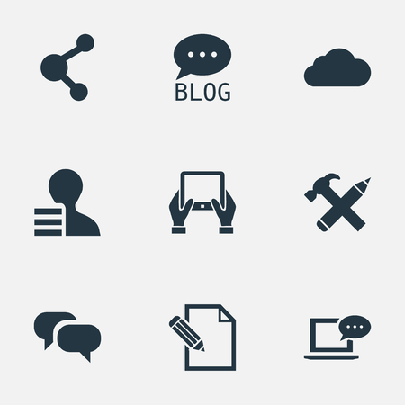 Vector Illustration Set Of Simple Blogging Icons. Elements Overcast, Notepad, Repair And Other Synonyms Laptop, Tablet And Hammer.