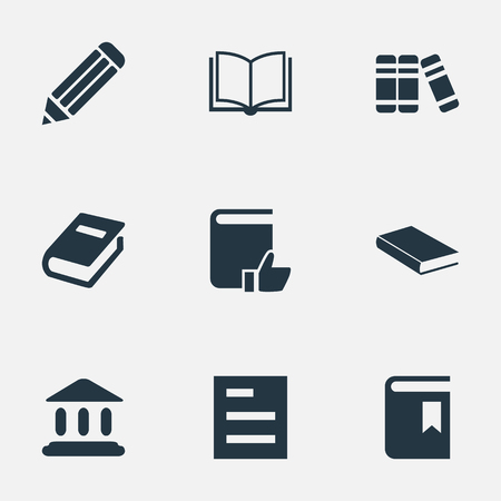 Vector Illustration Set Of Simple Reading Icons. Elements Notebook, Tasklist, Blank Notebook And Other Synonyms Bookmark, Notebook And Literature.