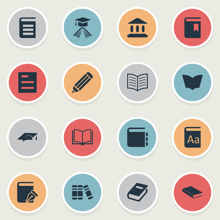 Vector Illustration Set Of Simple Knowledge Icons. Elements Notebook, Bookshelf, Encyclopedia And Other Synonyms Catalog, School And Literature.