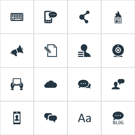 Vector Illustration Set Of Simple User Icons. Elements Site, Keypad, Document And Other Synonyms Phone, Cloud And Camera.
