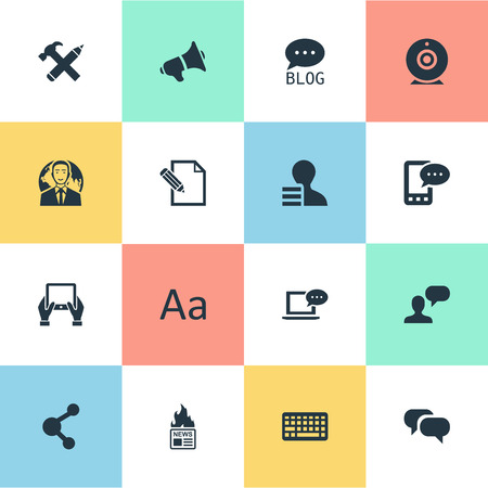 advantages: Illustration Set Of Simple Blogging Icons. Elements E-Letter, Document, Man Considering And Other Synonyms Pencil, Repair And Writing.