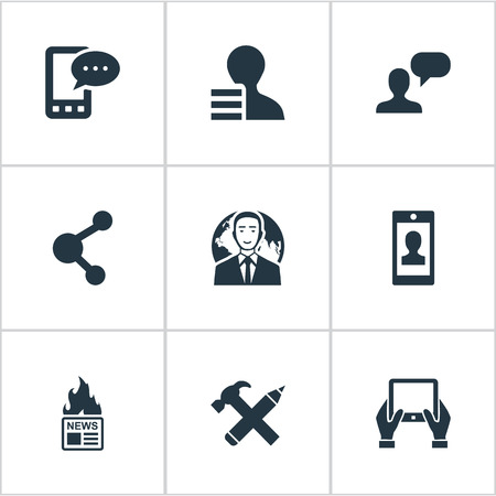 Illustration Set Of Simple User Icons. Elements Notepad, Man Considering, Repair And Other Synonyms Notepad, Man And Share.