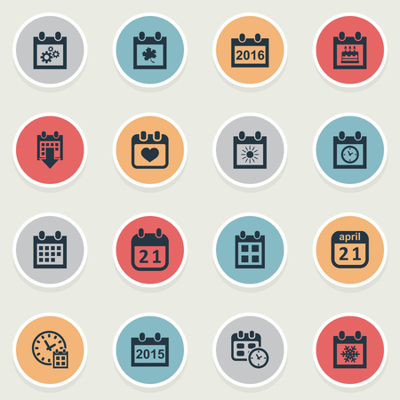 Vector Illustration Set Of Simple Date Icons. Elements Leaf, Snowflake, Remembrance And Other Synonyms Agenda, Winter And History.