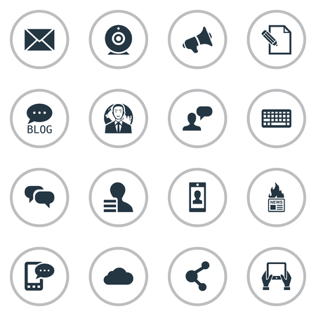 qwerty: Vector Illustration Set Of Simple Blogging Icons. Elements International Businessman, Gossip, Share And Other Synonyms Cloud, Debate And Earnings.