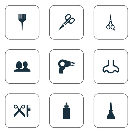Vector Illustration Set Of Simple Salon Icons. Elements Barbershop, Serum, Comb And Other Synonyms Tool, Manicure And Nails. Illustration