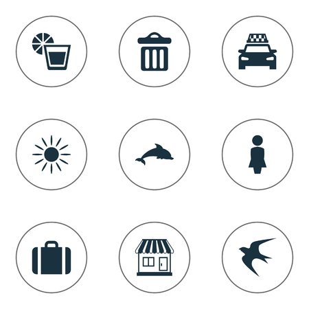 Vector Illustration Set Of Simple Seaside Icons. Elements Garbage, Taxi, Swallow And Other Synonyms Dolphin, Luggage And Sunshine. 向量圖像
