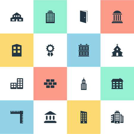 Vector Illustration Set Of Simple Architecture Icons. Elements Construction, Reward, Academy And Other Synonyms Building, Wall And House.