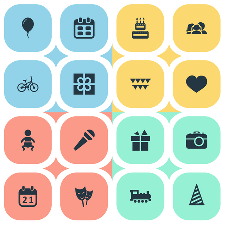 Vector Illustration Set Of Simple Birthday Icons. Elements Days, Confectionery, Soul And Other Synonyms Bike, Aerostat And Balloon. Ilustração