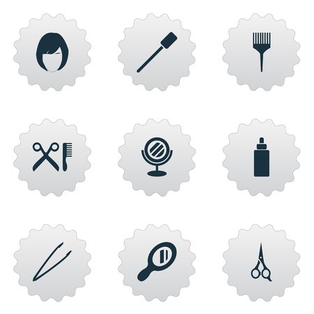 シンプルな美しさのアイコンのベクトル イラスト セット。要素髪型、理髪ツール、ガラス、その他のシノニム ブラシ装置および美容院。