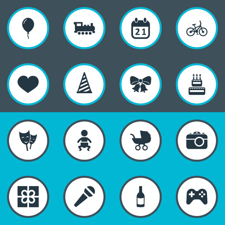 Vector Illustration Set Of Simple Holiday Icons. Elements Soul, Cap, Game And Other Synonyms Aerostat, Day And Confectionery.