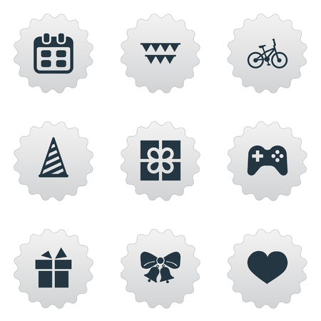 Illustratie Set Of Simple Holiday Icons Elementen Decoraties, Soul, Lint En Andere Synoniemen Schema, Doos En Gift. Stock Illustratie