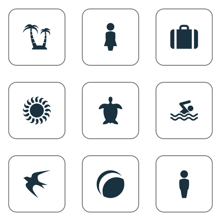 Vector Illustration Set Of Simple Beach Icons. Elements Male, Swimming Man, Woman And Other Synonyms Lady, Baggage And Beach.