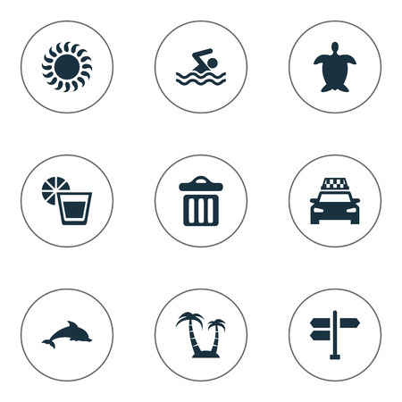 Vector Illustration Set Of Simple Seaside Icons. Elements Swimming Man, Crossroad, Palm And Other Synonyms Man, Palm And Sea.