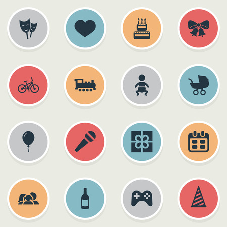 Vector Illustration Set Of Simple Celebration Icons. Elements Beverage, Aerostat, Speech And Other Synonyms Play, Soul And Kid.