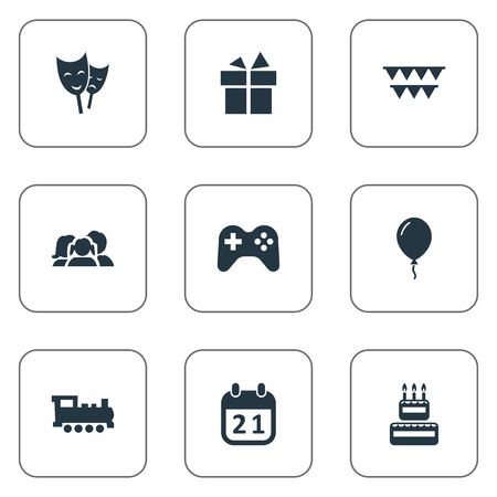 festal: Vector Illustration Set Of Simple Holiday Icons. Elements Train, Decorations;, Domestic And Other Synonyms Balloon, Joystick And Party.
