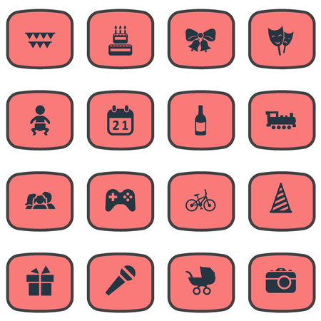 Vector Illustration Set Of Simple Birthday Icons. Elements Domestic, Speech, Decorations; And Other Synonyms Sport, Family And Decorations. Illustration