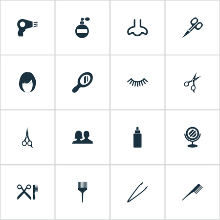bathroom mirror: Vector Illustration Set Of Simple Cosmetics Icons. Elements Hairstyle, Scissors, Blow Dryer And Other Synonyms Shears, Barbershop And Comb. Illustration